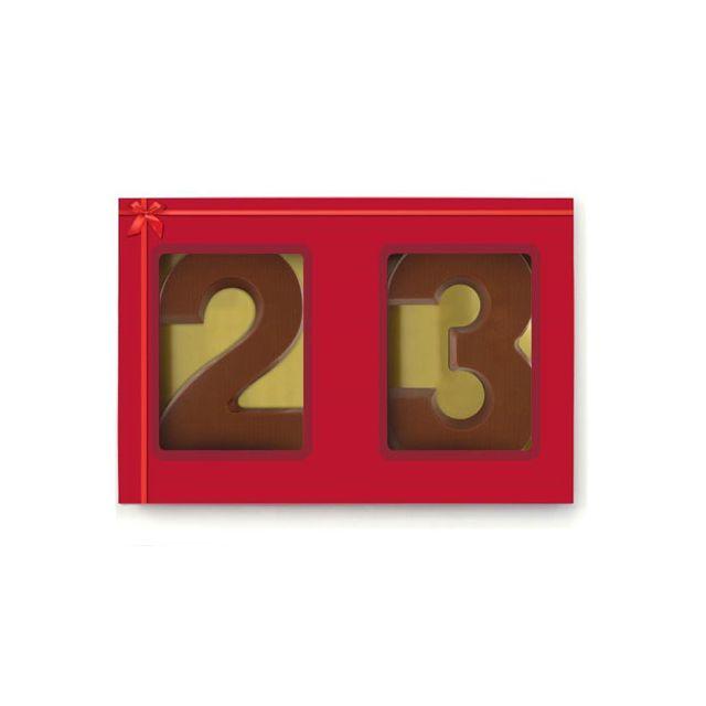 2 chocoladecijfers in sleeve (0 t/m 9)
