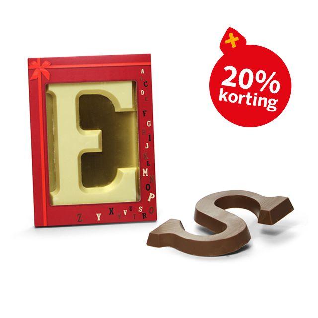 Chocoladeletter A-Z en 0-9 in vensterdoos, 175 gram