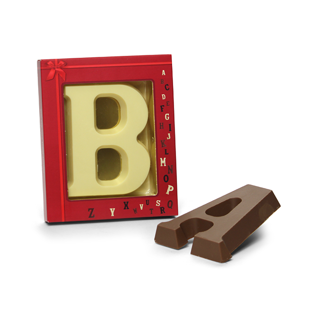 Chocoladeletter A t/m Z in vensterdoos, 80 gram