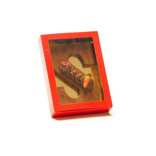 Chocoladeletter S met decoratie, 200 gram