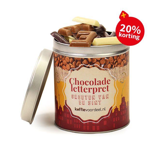 Chocolade letterpret in blik - groot