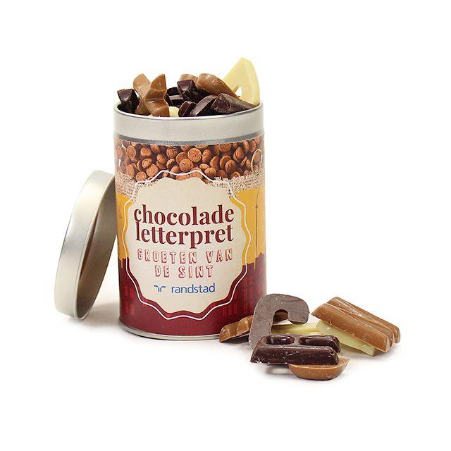 Chocolade letterpret in blik - klein
