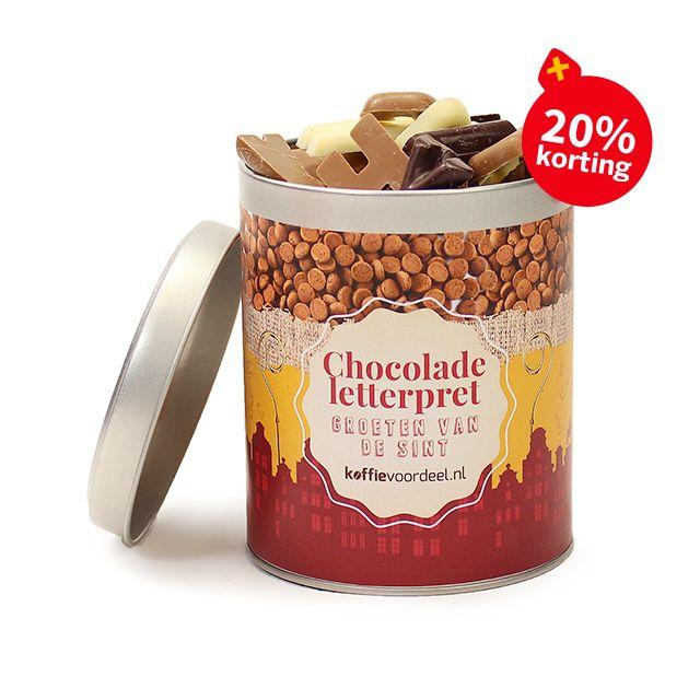 Chocolade letterpret in blik - medium