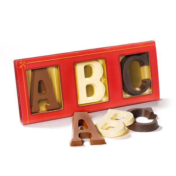 3 chocoladeletters A t/m Z in sleeve