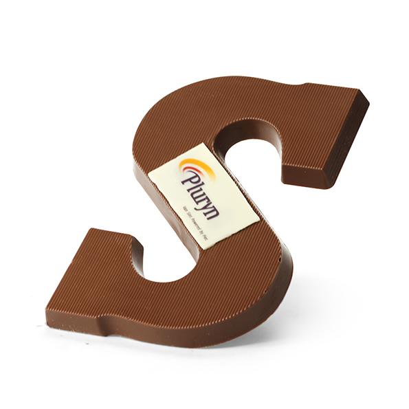 Chocoladeletter met logo bedrukking