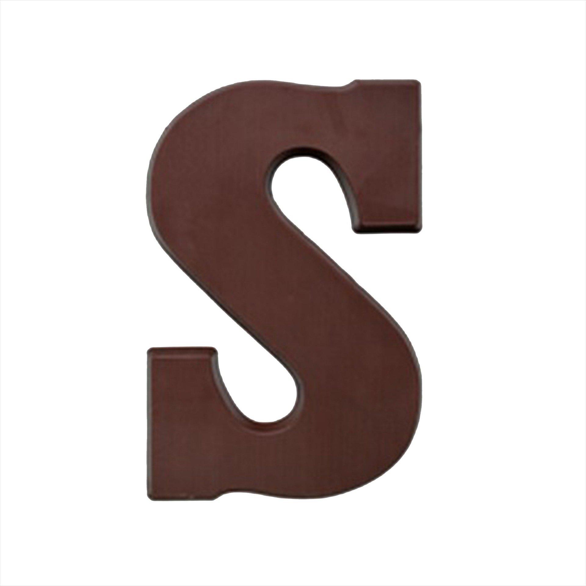 Suikervrije chocoladeletter S